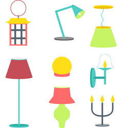 set of different lamps furniture and floor lamps vector image vector image