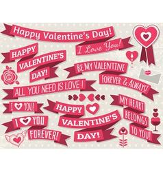 set of ribbon valentines design vector image