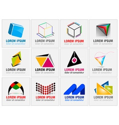 Set of twelve abstract icons for business branding vector image vector image