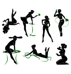 silhouette of pin up girls vector image vector image
