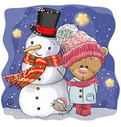 snowman and cute cartoon teddy bear girl vector image