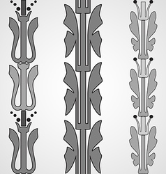 Vintage decorative set monochrome floral pattern vector