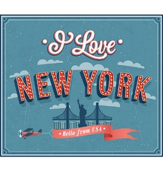 Vintage greeting card from new york - usa vector