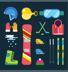 Winter sport icons set game design ski vector