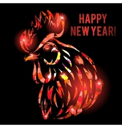 with red fire rooster head vector image