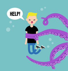 young screaming character attacked by octopus vector image vector image