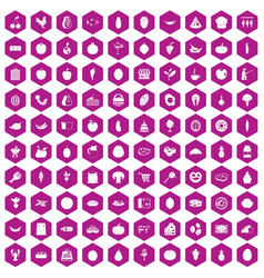 100 natural products icons hexagon violet vector