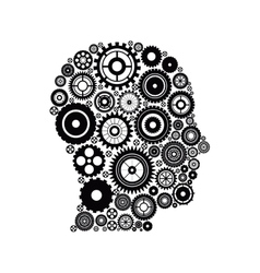 Gears and human head design vector