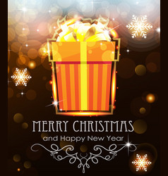 orange christmas gift on holiday background vector image