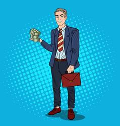 pop art happy businessman with stack of money vector image