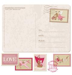 Wedding Invitation - Vintage Postcard with Postage vector image