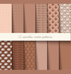 Seamless coffee pattern set vector