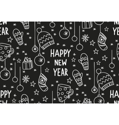 Hand drawn new year pattern blackboard vector