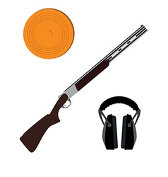Skeet rifle headphones for shooting and clay disk vector