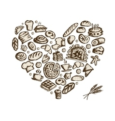 Bakery concept love heart sketch for your design vector