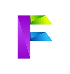 F letter one line colorful logo design template vector