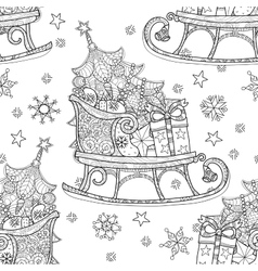 Hand drawn christmas doodle sketch sledge vector