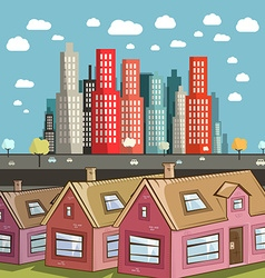 Flat design city with houses vector