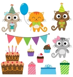 Birthday party elements with cats vector