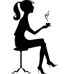 Silhouette of a girl with a coffee vector image
