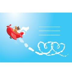Teddy bear aviator in love vector image