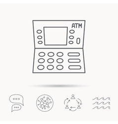 Atm icon automatic cash withdrawal sign vector