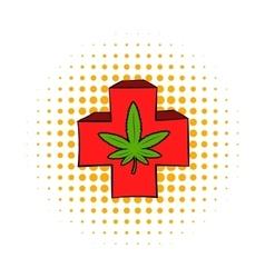 Marijuana leaf on a red cross icon comics style vector image