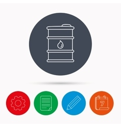 Barrel of oil icon cask with water drop sign vector