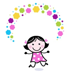 Cute doodle girl juggling with flowers vector