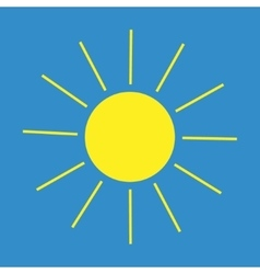 Sun sign on blue background vector