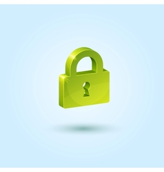 Green lock safe icon vector