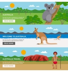 Australia Travel Horizontal Banners Set vector image