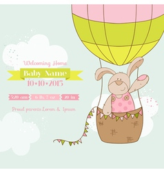 Baby Shower Card - Baby Bunny with Air Balloon vector image