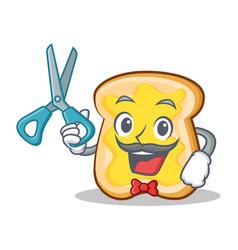 barber slice bread cartoon character vector image vector image