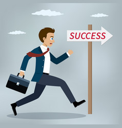 businessman running to success vector image vector image