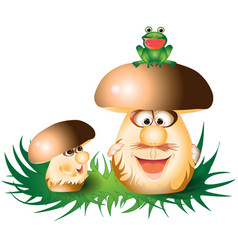 Cartoon funny mushrooms vector