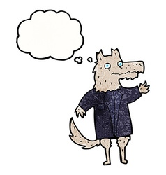 Cartoon wolf businessman with thought bubble vector