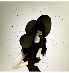 dark girl with abstract lines vector image