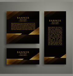 Dark premium golden template banner card design vector