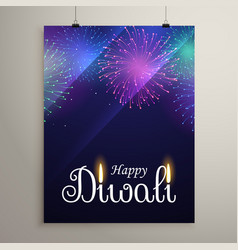 diwali festival fireworks in blue night sky flyer vector image