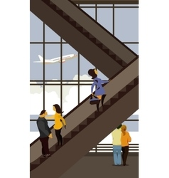 escalator in the airport building vector image