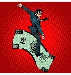 Financial rodeo businessman riding a dollar vector