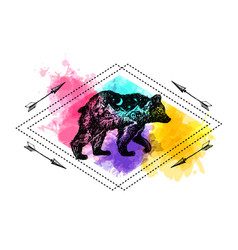 hand drawn bear with double vector image