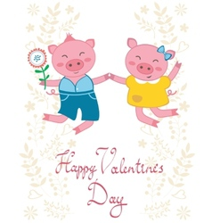 Happy jumping pigs couple vector image vector image