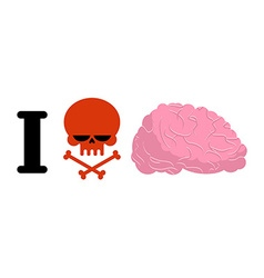 I hate to think skull symbol of hatred and brain vector