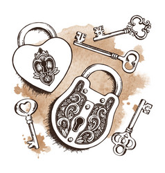 keys and locks over watercolor background vector image vector image