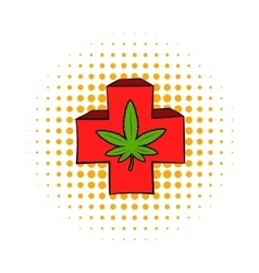 Marijuana leaf on a red cross icon comics style vector