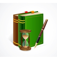 old book and sand glass pen vector image vector image