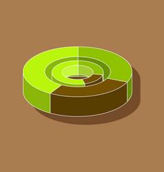 Paper sticker on stylish background pie chart vector