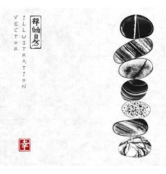 Pebble zen stones balance on rice paper background vector